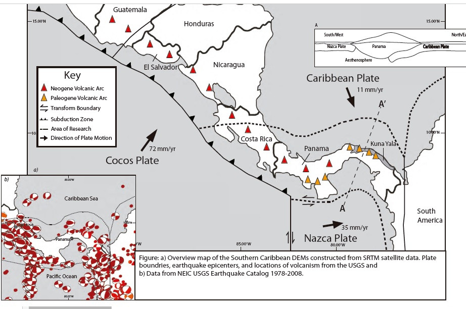 HENDRICKSON, M. J.; STRONG, N.; FARRIS, D. W.; O'DEA, A.,; RODRIGUEZ, F.; (2011) GEOLOGICAL MAP OF THE KUNA YALA, PANAMA.  GSA Annual Meeting in Minneapolis (9-12 October 2011), Paper No. 262-11.