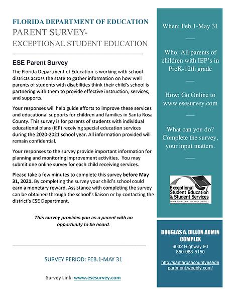 parent survey flyer for Exceptional Stud