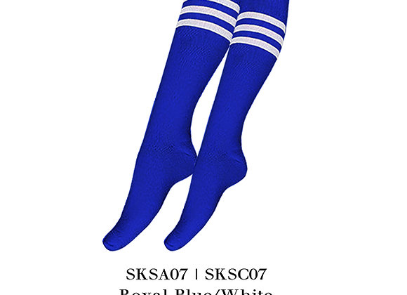Royal Blue/WhiteSports Knee Stripes Socks