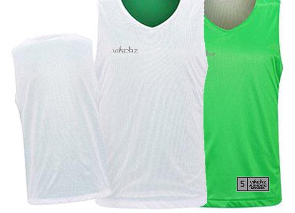 VBR04 White/Green Vikerz Basketball Reversible Jerseys & Shorts