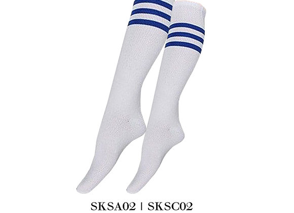 White/Royal Blue Sports Knee Stripes Socks
