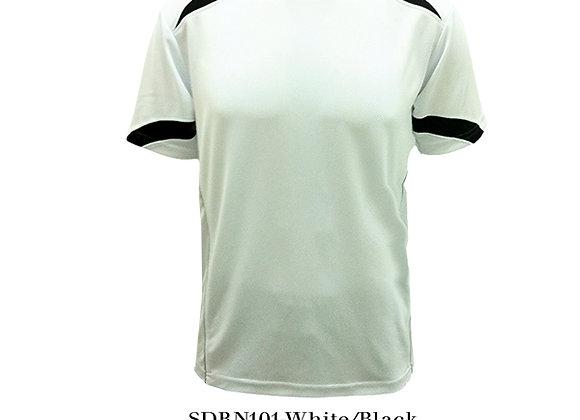 White/Black Round Neck Design T-Shirt