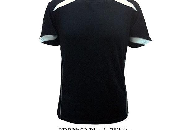Black/White Round Neck Design T-Shirt