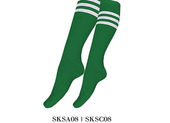 Green/White Sports Knee Stripes Socks
