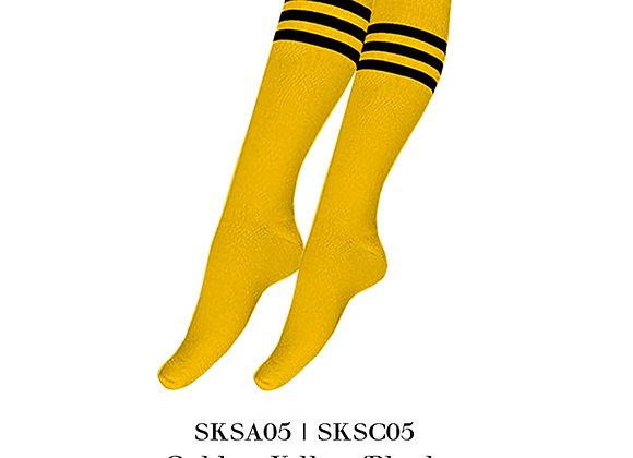 Golden Yellow/Black Sports Knee Stripes Socks