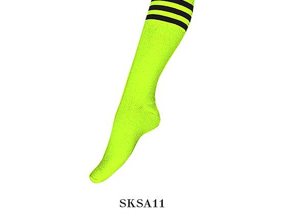 Neon Yellow/Black Sports Knee Stripes Socks