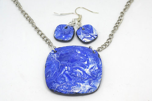 Acrylic Blue Swipe Necklace and Earrings