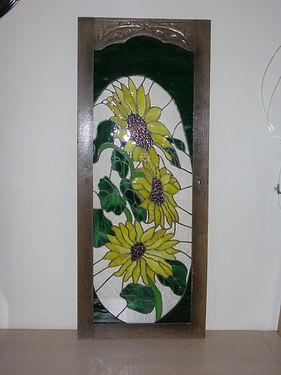 Deurtje met zonnebloemen - Schipper Doorzichtig - Glas in lood