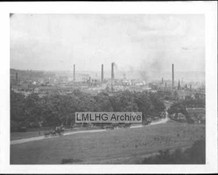View of Park Bottoms and Low Moor chimneys from Delph Hill