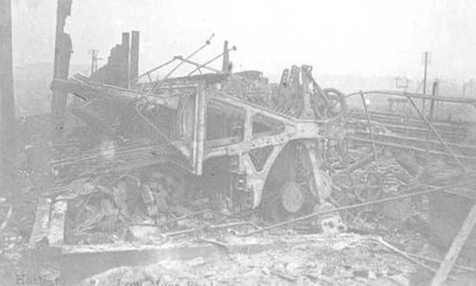 Remains of railway signal box.