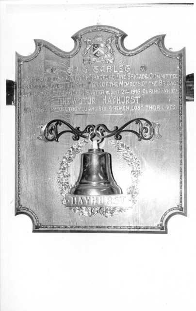 """""""HAYHURST"""" bell in Odsal station."""