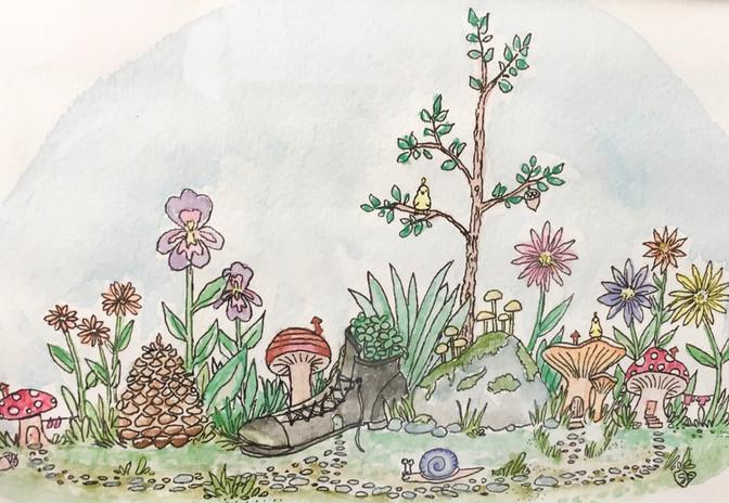 """""""enchanting forest floor"""" watercolor / pen"""