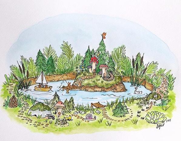 """Island Scene"" Watercolor/Pen"