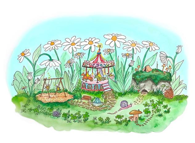 """Garden Carnival"" watercolor/pen/digital"
