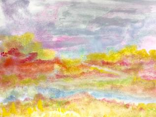 Impressie landschap aquarel