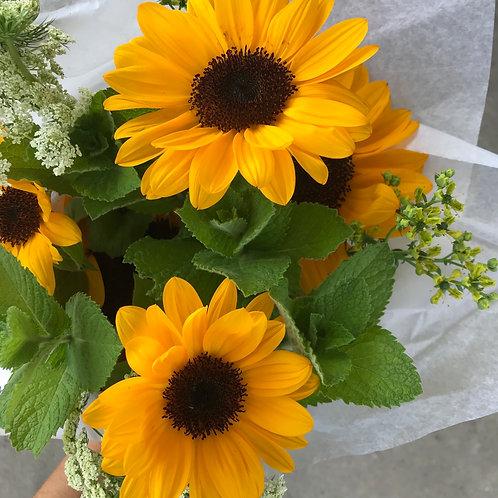 Half Dozen Sunflower Wrapped Bouquet