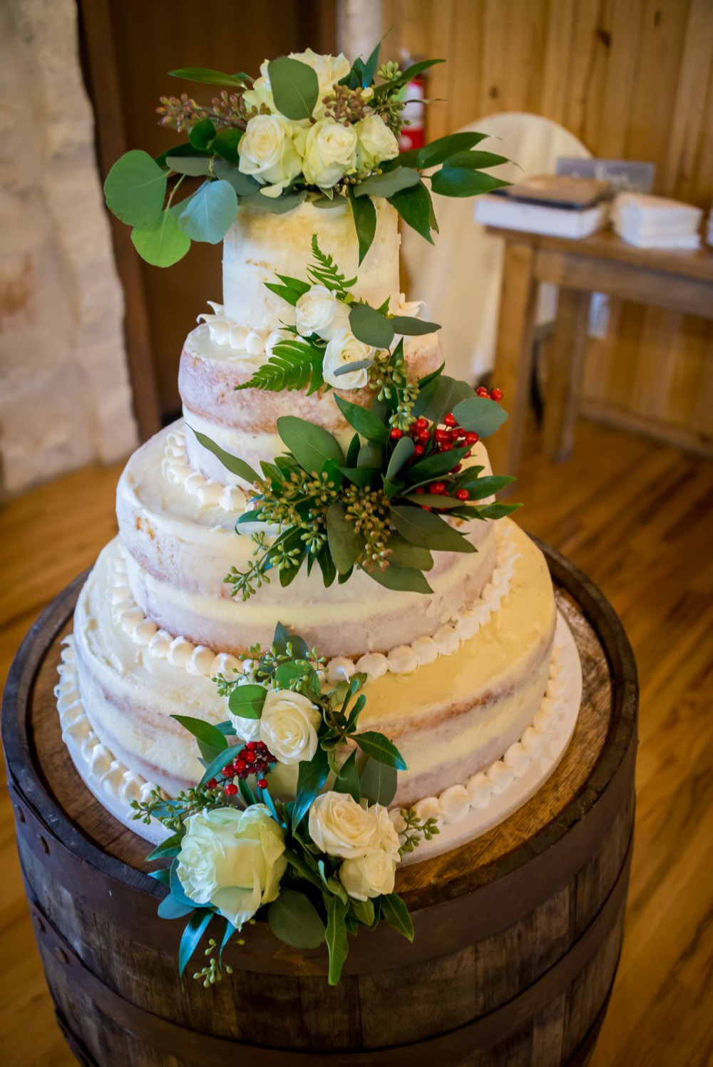 White Naked Cake with flowers.