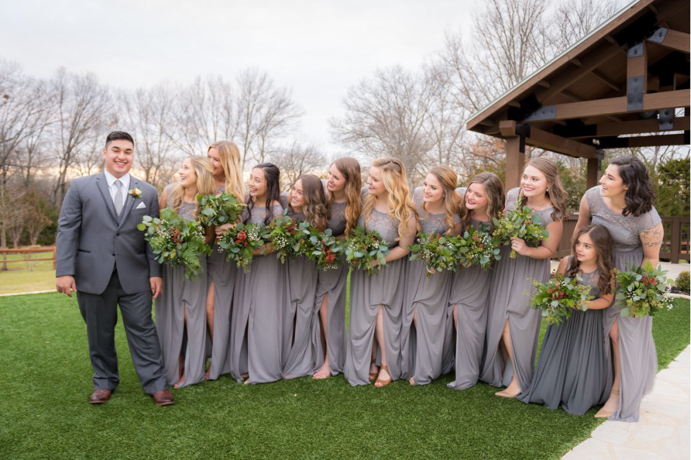 Mixed greenery bridesmaids bouquets at The Springs Venue Anna, TX