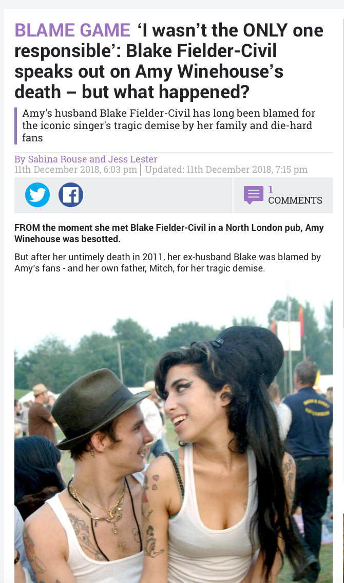 I Wasn T The Only One Responsible Blake Fielder Civil Speaks Out On Amy Winehouse S Death