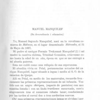 Manuel Manquilef, Comentarios del pueblo araucano, 1911