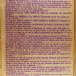 Los acuerdos del octavo Congreso Araucano de 1928