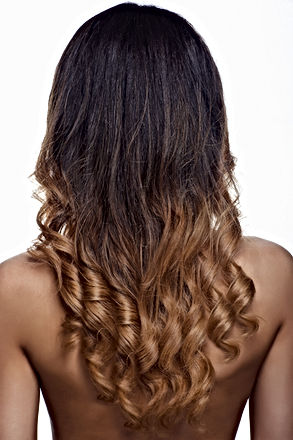 Woman with Long Healthy Colorful Ombre W