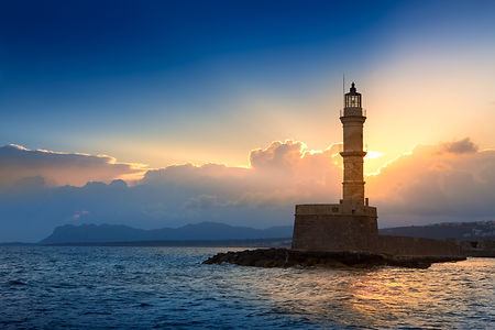 Lighthouse on sunset. Chania, Crete, Gre