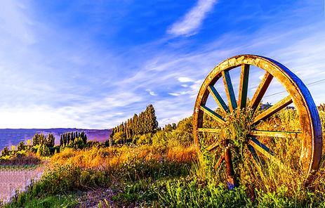 Wagon wheel in sunset field. Big wagon w