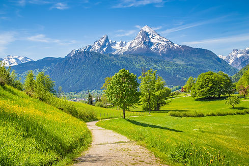 Idyllic summer landscape with hiking trail in the Alps with beautiful fresh green mountain