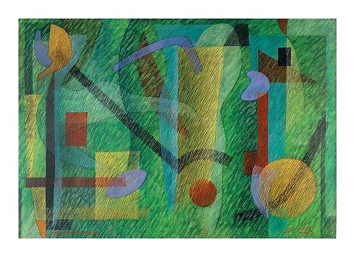 Fantasia Modernista Sobre Fundo Verde - 2005