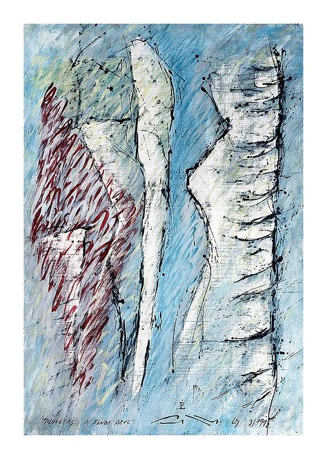 Silhuetas Sobre Fundo Azul - 1992
