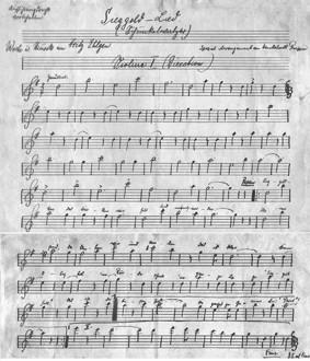 Noten des Sieggold-Liedes