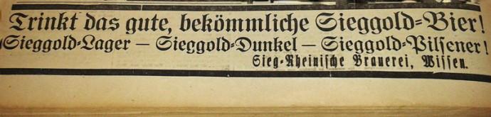 Zeitungsanzeige Sieggold Bier