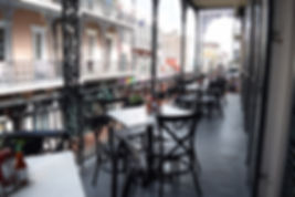 Private outdoor event space on the balcony of Felix's Restaurant & Oyster Bar French Quarter location in New Orleans, LA