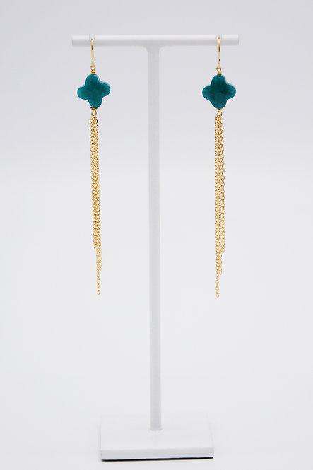 Boucles d'oreilles Trèfle - Agate « Bleu Canard »