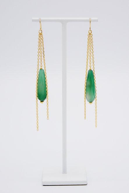 Boucles d'oreilles Gouttes - Agate Vert Emeraude