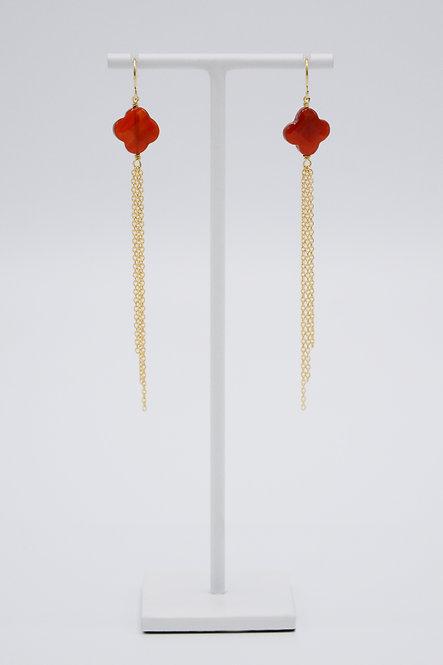 Boucles d'oreilles Trèfle - Cornaline