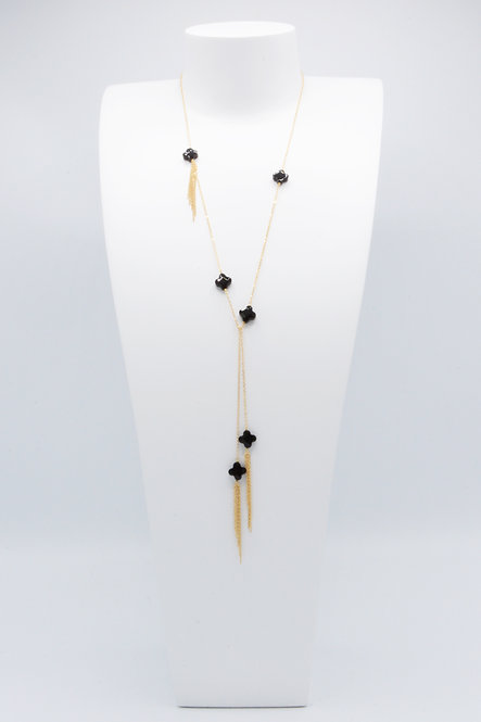 Sautoir Trèfles - Onyx