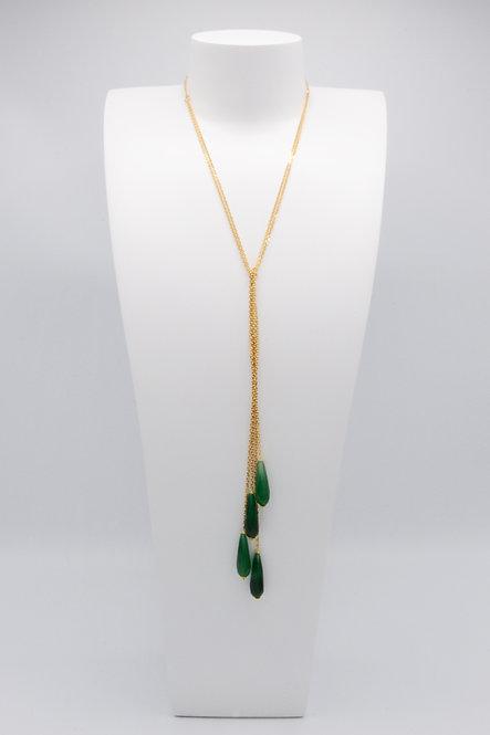 Sautoir Gouttes - Agate Vert Emeraude