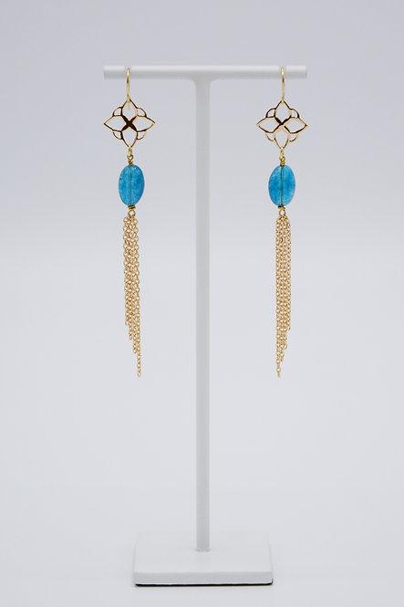 Boucles d'oreilles Arabesque - Agate « Bleu Canard »