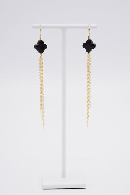 Boucles d'oreilles Trèfle - Onyx