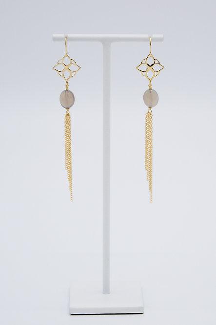 Boucles d'oreilles Arabesque - Agate Brume