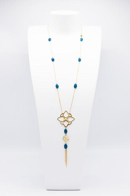 Sautoir Arabesque - Agate « Bleu Canard »
