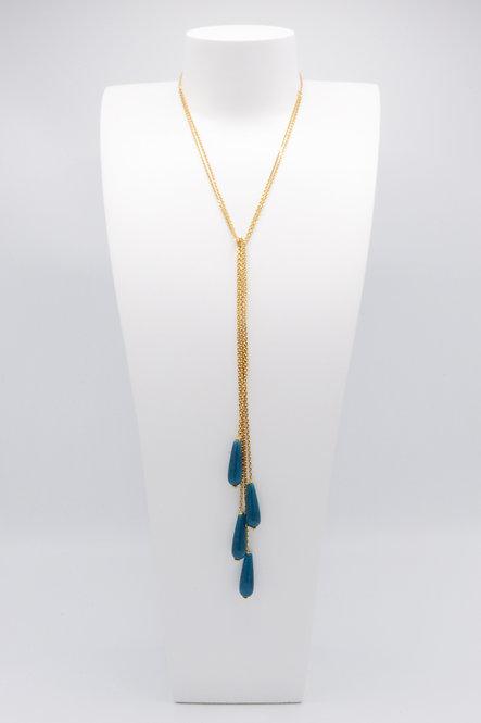 Sautoir Gouttes - Agate « Bleu Canard »