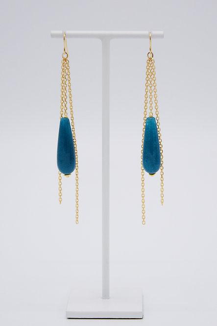 Boucles d'oreilles Gouttes - Agate « Bleu Canard »