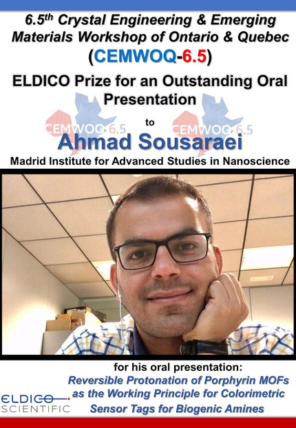 Prize for outstanding oral presentation to Ahmad