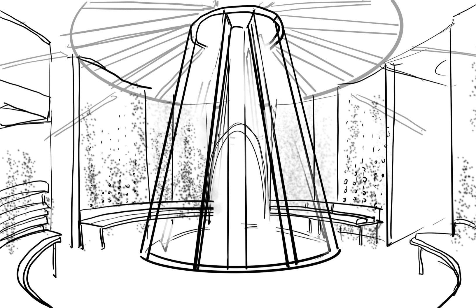 Concept Sketch for the Central Garden & Market