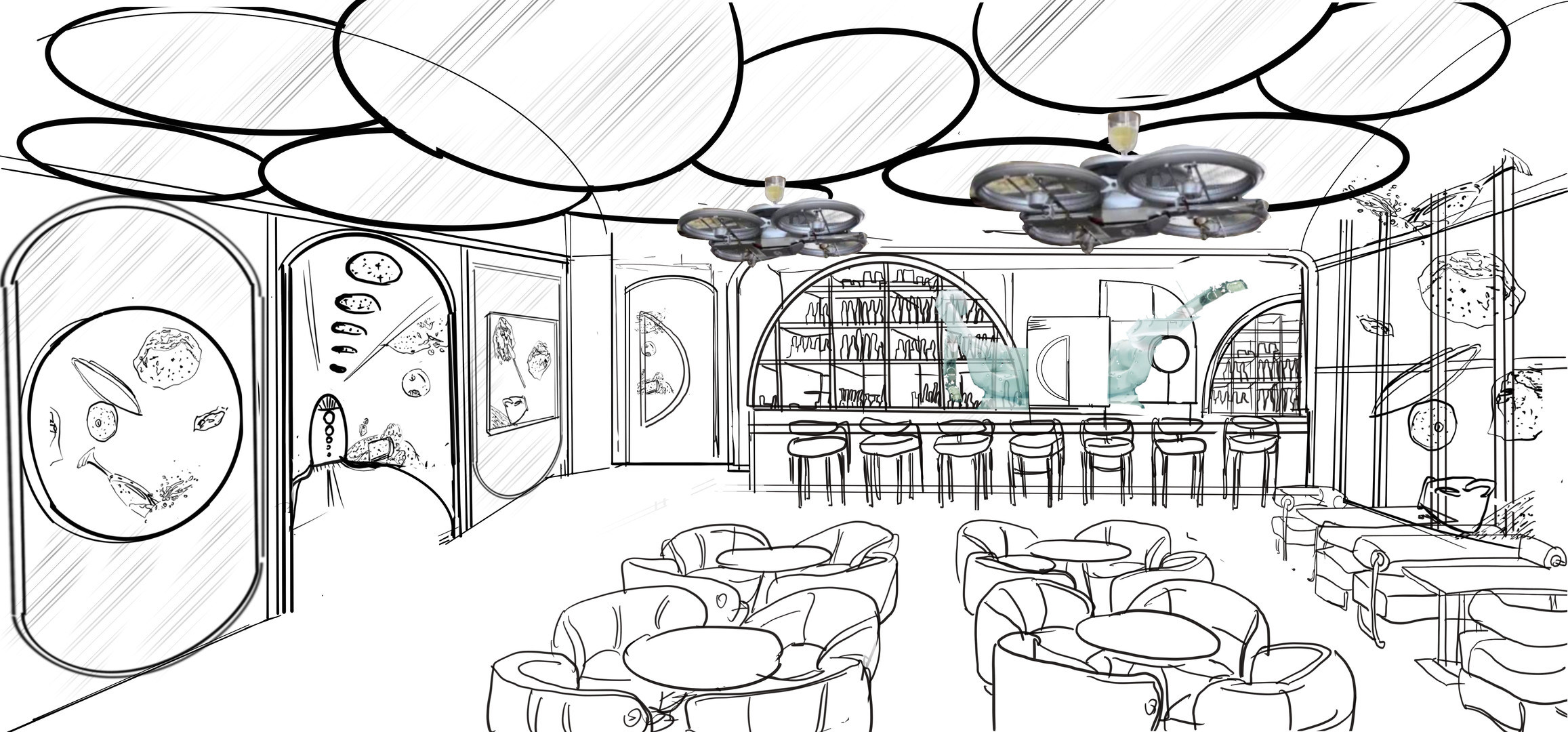 Concept Sketch for the iclub (2)