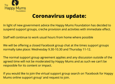 Happy Mums face-to-face activities suspended but online support groups to be offered