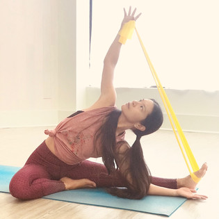 Resistance bands to encourage muscle activation for active stretching.